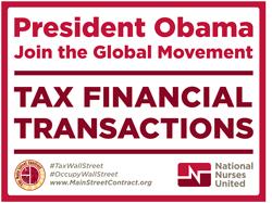 Obama tax Wall Street placard