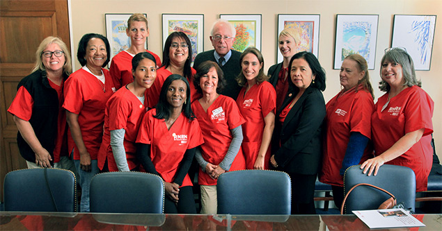 Sen. Bernie Sanders with NNU disaster relief team