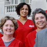 Rochelle Pardue-Okimoto, (third from left), with other RN activists and former Assembly member Sandre Swanson, who endorsed Pardue-Okimoto today, in a recent rally to keep open a critical hospital in Berkeley