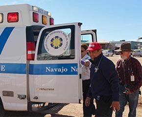 RN Juan Orias at ambulance