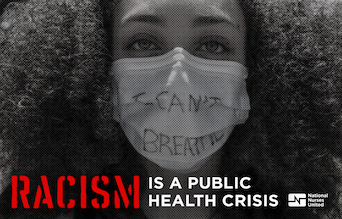Racism is a Public Health Crises graphic with woman