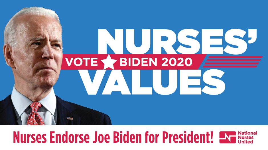 "Graphic ""National Nurses United Endorses Joe Biden"""