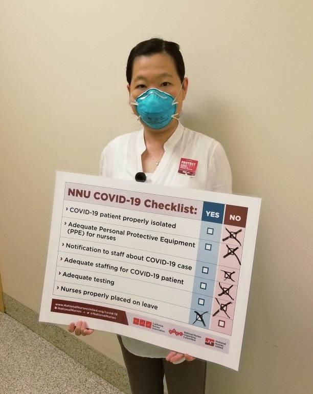 Nurse with placard