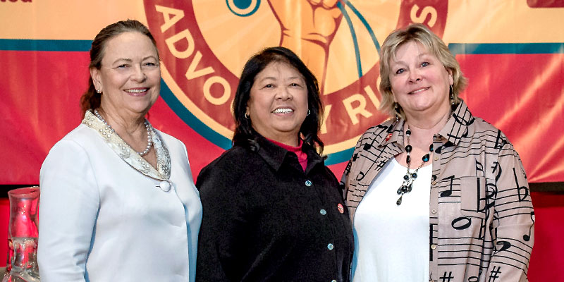 RNs and NNU Co-Presidents (left to right): Deborah Burger, Zenei Cortez, and Jean Ross