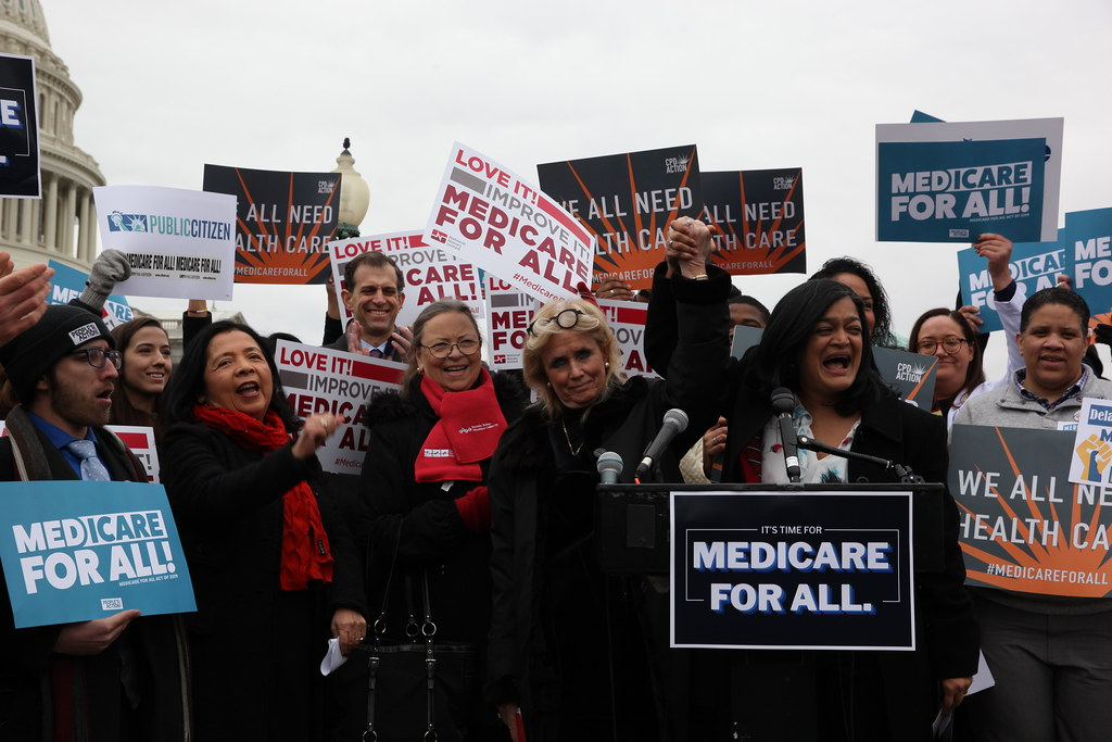 Medicare for All presser on Capitol steps