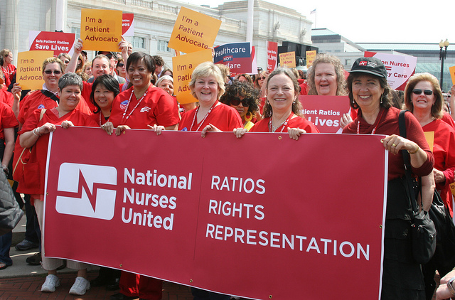 NNU/CNA Executive Director RoseAnn DeMoro with RN leaders