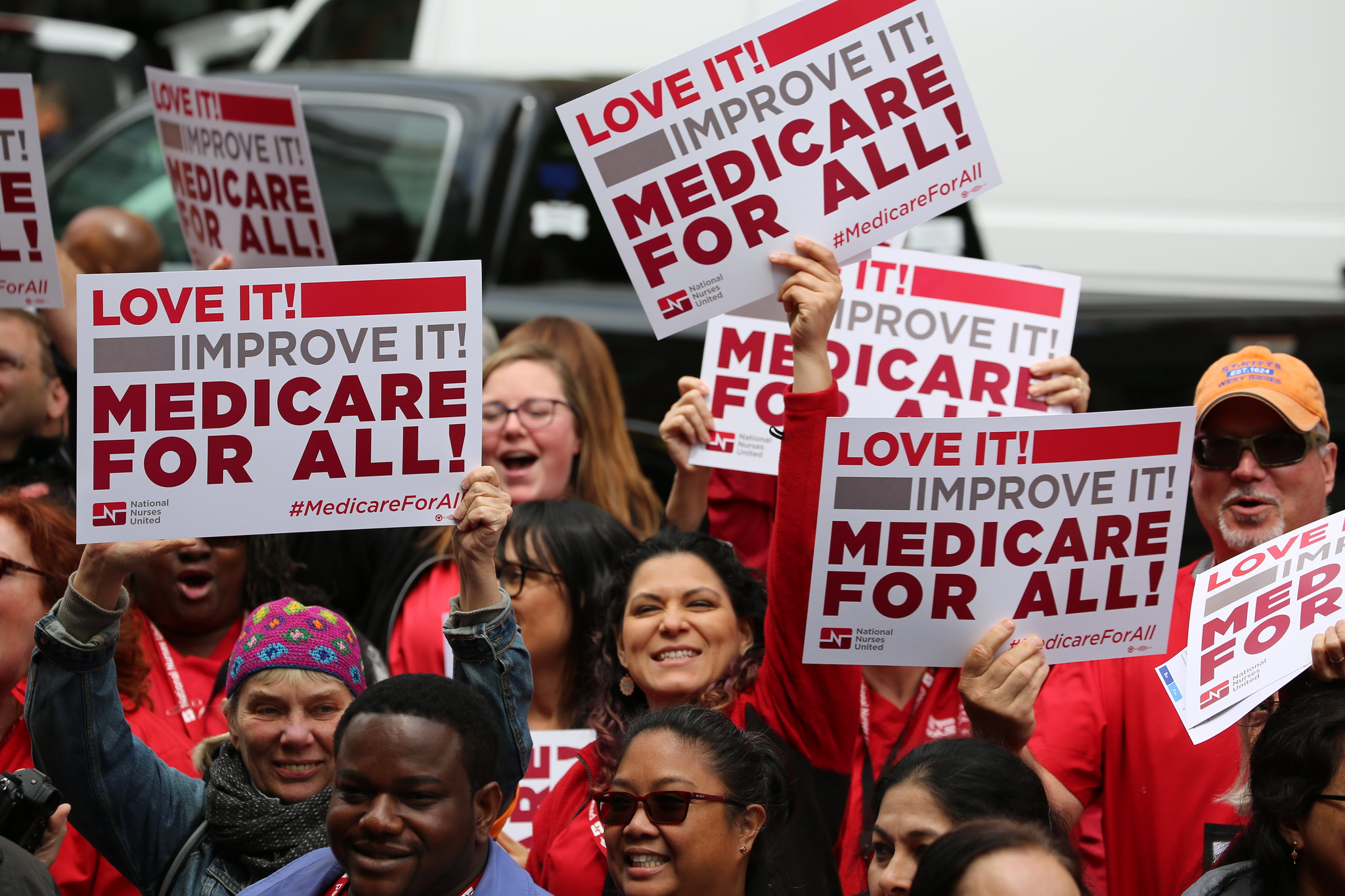 Nurses rally with Medicare for All signs