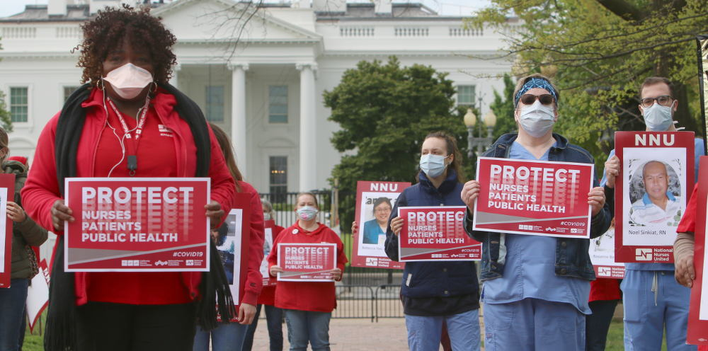 Nurses demonstrate in front of White House