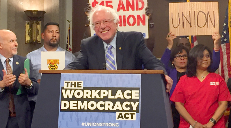 Bernie Sanders at podium