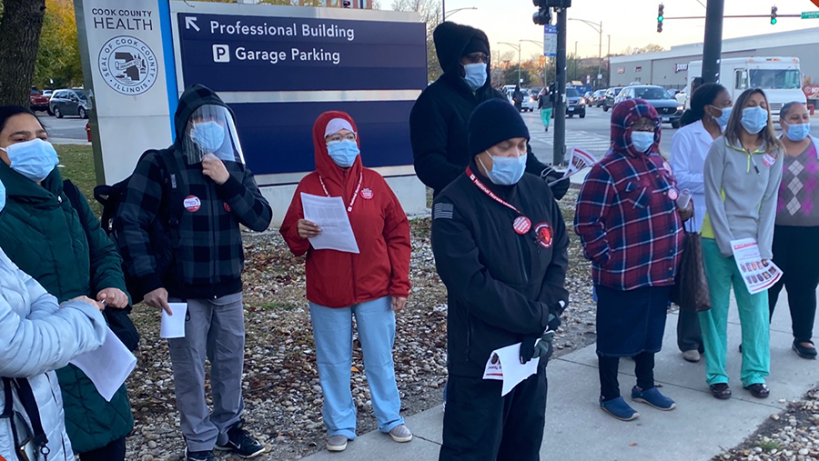 Nurses outside Cook County Health offices