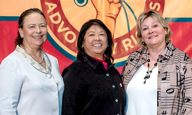 NNU Presidents Deborah Burger, Zenei Triunfo-Cortez, and Jean Ross