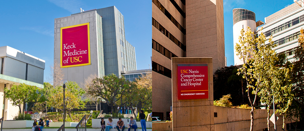 Keck Medicine of USC and USC Norris Comprehansive Cancer Center buildings