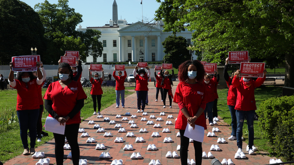 Nurses protest in front of The White House