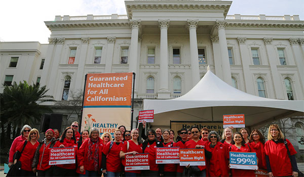 CNA RNs rally for the Healthy California Act at the State Capitol.