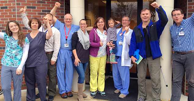 Healthcare Workers celebrate at Maine Coast Memorial Hospital