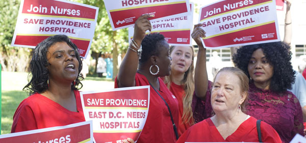 Providence Nurses protesting the proposed hospital closing