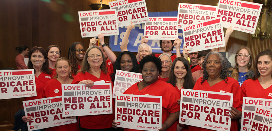 Nurses at Senate press conference for Medicare for All