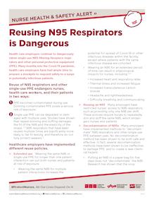 """Flyer """"Reusing N95 Respirators is Dangerous"""""""