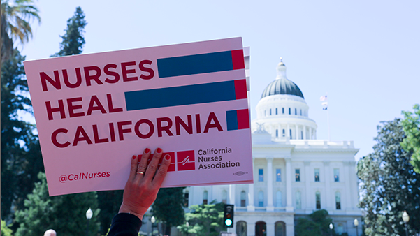 California nureses outside state capitol building