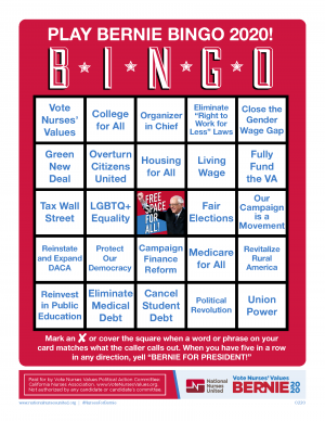 Bernie Bingo Game Card