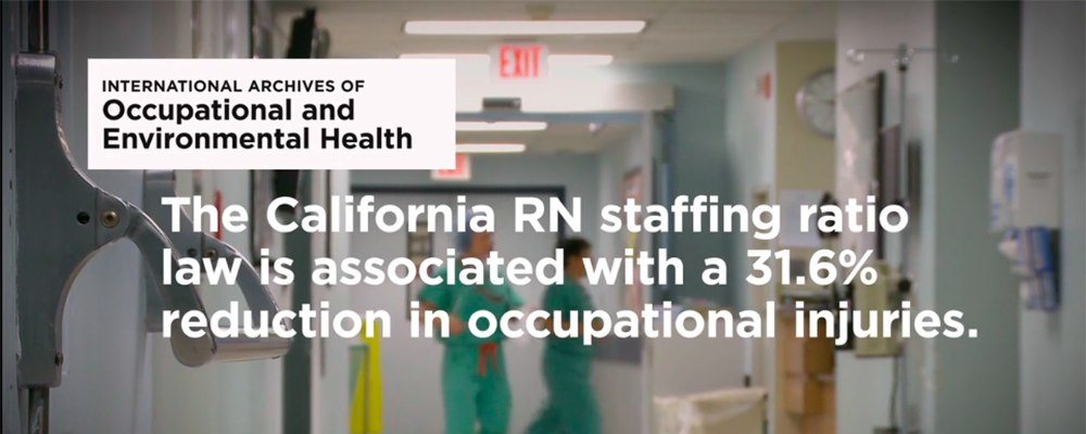 Graphic: The California RN staffing ratio law is associated with a 31.6% reduction in occupational injuries.