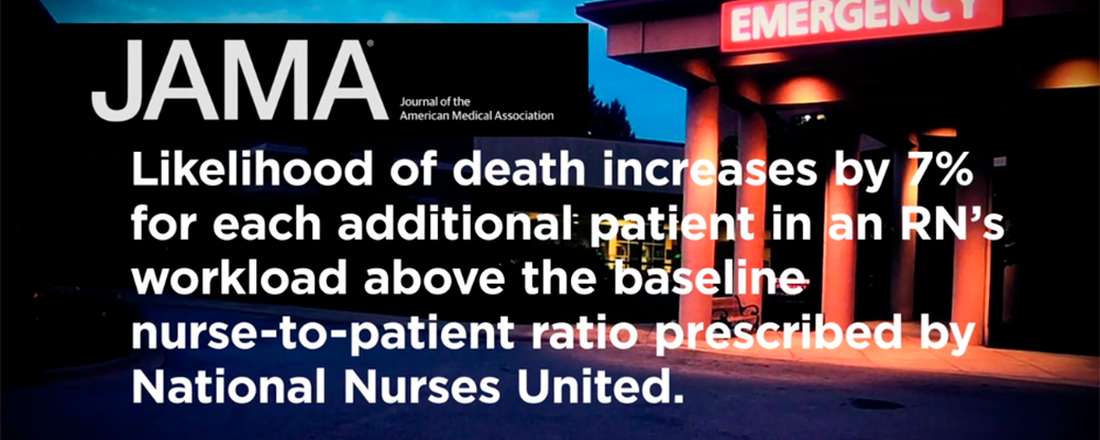 Graphic: Likelyhood of death increases by 7% for each additonal patient in an RN's workload above the baseline nurse-to-patient ration prescribed by National Nurses United.