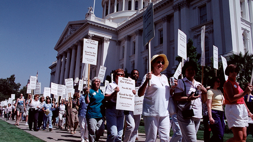 Nurses picket for CA AB394