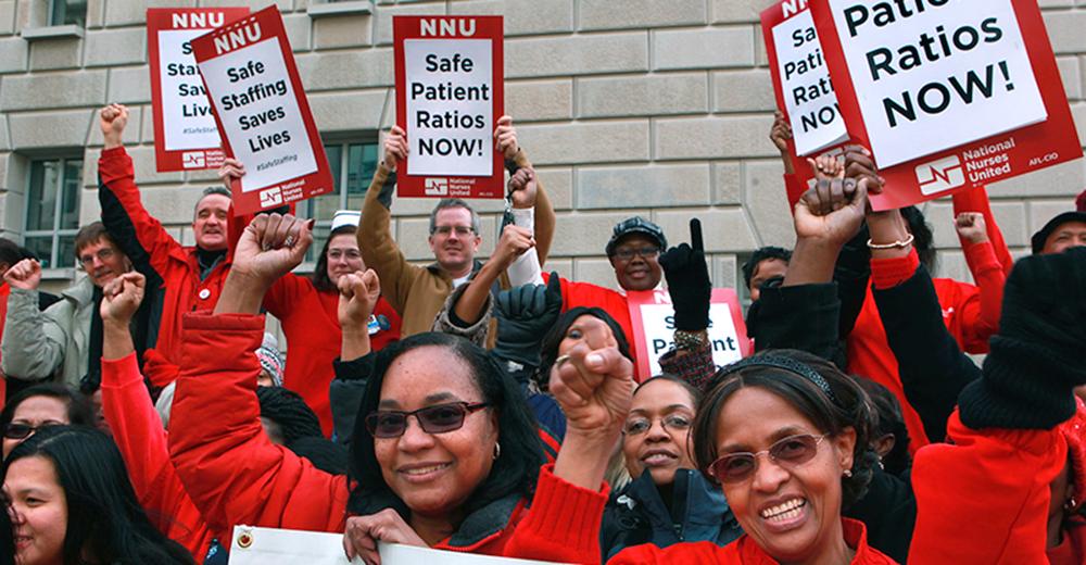 Nurses picket for safe patient ratios.