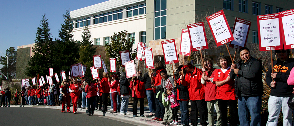 Nurses picket outside Sutter Solano Medicak Center