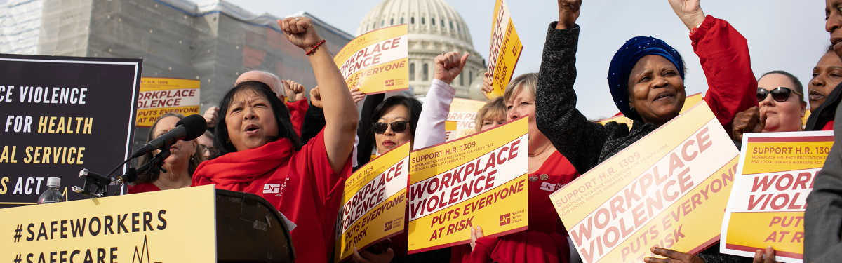 Nurses celebrate victory against workplace violence