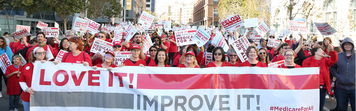 "Nurses hold signs ""Medicare For All"""