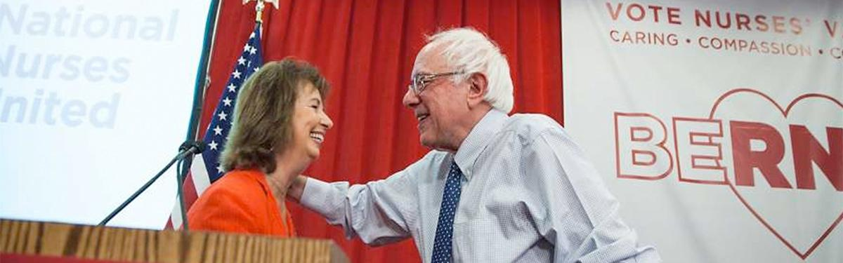 RoseAnn DeMoro and Sen. Bernie Sanders