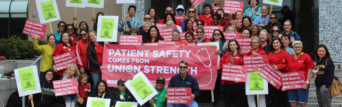 RNs and Carc workers showing solidarity