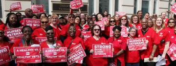 Nurses rally with strong union nurses veterans banner