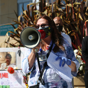 RN speaks at vigil for Janine Paiste-Ponder, RN, at Sutter Alta Bates Summit Medical Center in Oakland