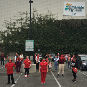 Nurses stand in front of Emanate Health