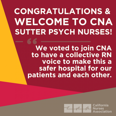 Congratulations and welcome to CNA Suttwr Psych Nurses!