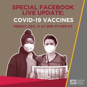 "Nurses in protective equipment; Graphic - ""Special Facebook Live Update: Covid-19 Vaccines"";"
