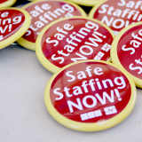 "Buttons reading ""safe staffing now"""