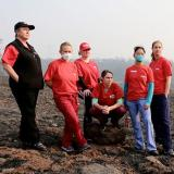 Volunteers with NNU's disaster relief project, the RN Response Network, assess California wildfire damage.