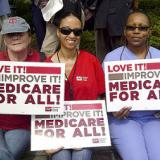 Nurses with Medicare for all signs
