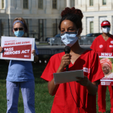 Nurses push for HEROES Act outside the U.S. Senate