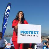 Athena Watkins, RN, spoke against offshore drilling at a rally