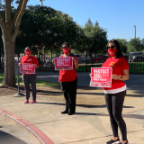 "San Joaquin County nurses hold signs ""Protect Nurses"""