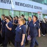 Australia: Nurses and midwives from John Hunter Hospital voice their concerns about staffing levels. Picture: Marina Neil
