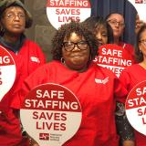 Nurses with Safe Staffing paddles