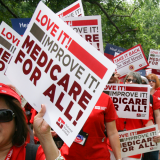 Nurses rally with Medicare for All banner