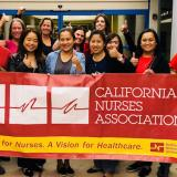 Registered nurses at Stanford Health Care's ValleyCare Medical Center celebrate victory