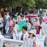 Doctors from the country's hospitals demonstrate to demand better salaries and resources