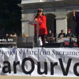 Catherine Kennedy speaking at Women's March Sacramento 2018